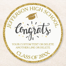 Custom Graduation Congrats Grad Gold Class of 2018 Round Paper Coaster