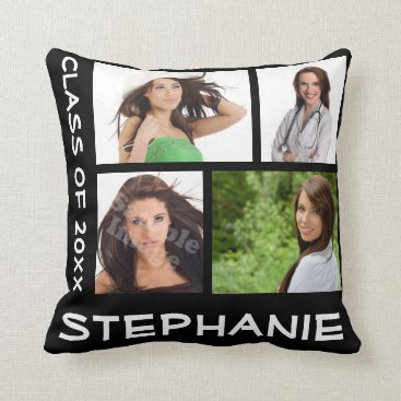 Custom Graduation Four Photo Collage Pillow