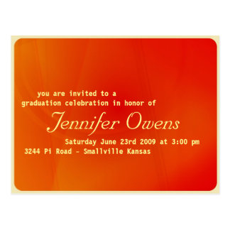 Custom Graduation Invitation : Orange Crush Postcard