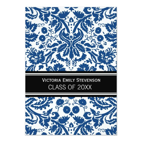 Custom Graduation Party Invitation Blue Black