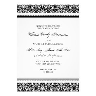Custom Graduation Party Invitation Card Black