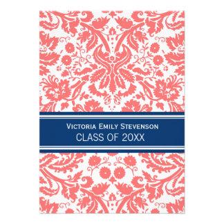 Custom Graduation Party Invitation Coral Blue