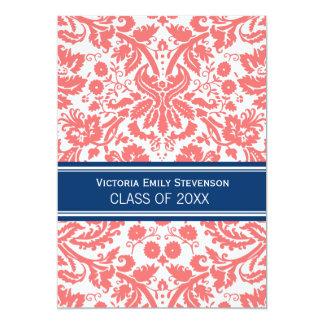 "Custom Graduation Party Invitation Coral Blue 5"" X 7"" Invitation Card"