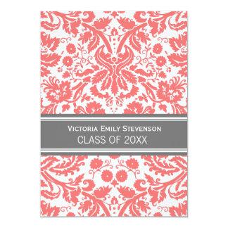 "Custom Graduation Party Invitation Coral Gray 5"" X 7"" Invitation Card"