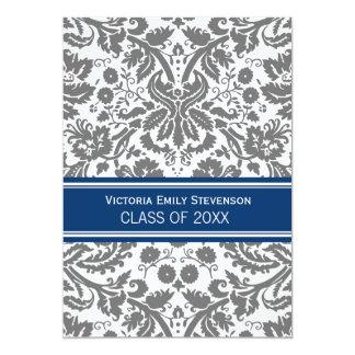 "Custom Graduation Party Invitation Grey Blue 5"" X 7"" Invitation Card"
