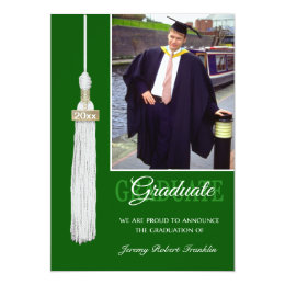 Green and white graduation invitations announcements zazzle custom graduation party invite green white tassel filmwisefo