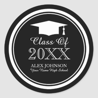 Custom graduation party stickers with graduate hat