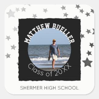 Custom Graduation Photo   Name Class of Year Stars Square Sticker