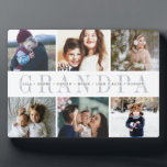 """Custom Grandpa Grandchildren Photo Collage Plaque<br><div class=""""desc"""">Create a sweet gift for a beloved grandfather with this six photo collage plaque. """"GRANDPA"""" appears in the center in soft gray lettering,  with your custom message and grandchildren's names overlaid.</div>"""