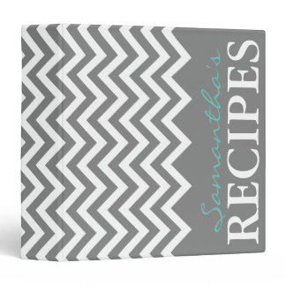 Custom gray and aqua chevron stripe recipe binder