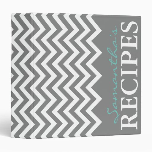 Custom gray and aqua chevron stripe recipe binder