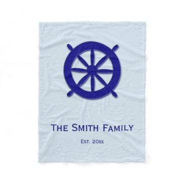 Beach Themed Custom Gray and Blue Nautical Ship's Wheel Blanket