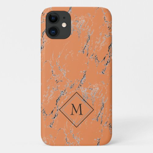 Custom Gray Black Marble Pattern On Salmon Orange Phone Case