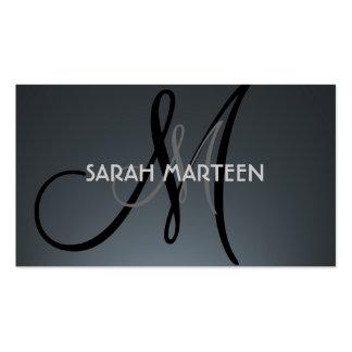 Custom gray black monogram business cards