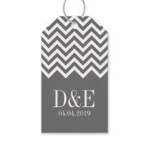 Custom gray chevron pattern wedding favor gift tag