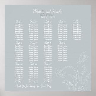 Custom Gray Floral Wedding Reception Seating Chart
