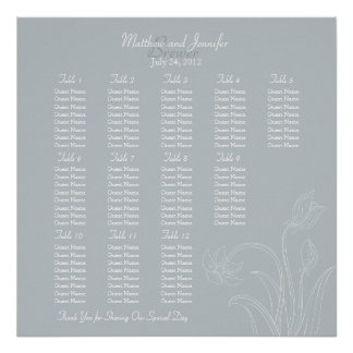 Custom Gray Floral Wedding Reception Seating Chart Poster