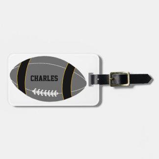 Custom Gray Football Fan Luggage Tag