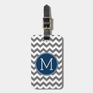 Custom Gray Navy Blue Chevron Pattern Monogram Luggage Tag