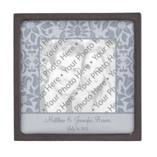 Custom Gray Photo Wedding Gift Keepsake Box