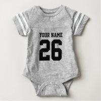 Custom gray sports football jersey baby bodysuits