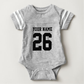 Custom gray sports football jersey baby bodysuits