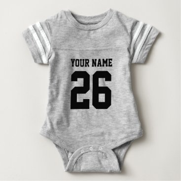 Toddler & Baby themed Custom gray sports football jersey baby bodysuits