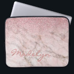 "Custom Gray Taupe Blush Pink Marble Art Pattern Computer Sleeve<br><div class=""desc"">Beautiful contemporary grey, white, brown and pink metal glitter look pattern design. With room to customize with name, monogram or initials of your choice. Ornate, funky, modern and whimsical hipster design for the elegant artistic fashionista or artsy fashion diva, hip trendsetter, vintage retro art style or abstract graphic digital geometric...</div>"