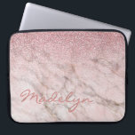 """Custom Gray Taupe Blush Pink Marble Art Pattern Computer Sleeve<br><div class=""""desc"""">Beautiful contemporary grey, white, brown and pink metal glitter look pattern design. With room to customize with name, monogram or initials of your choice. Ornate, funky, modern and whimsical hipster design for the elegant artistic fashionista or artsy fashion diva, hip trendsetter, vintage retro art style or abstract graphic digital geometric...</div>"""