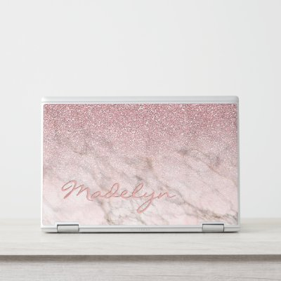 Pink Gold Marble Custom Monogram HP Laptop Skin