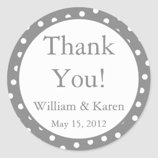 Custom Gray Thank You Stickers and Favor Labels