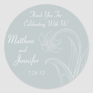 Custom Gray Wedding Favor Labels or Gift Tags