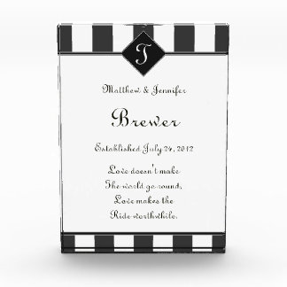 Custom Gray & White Wedding Gift Memento Plaque Award