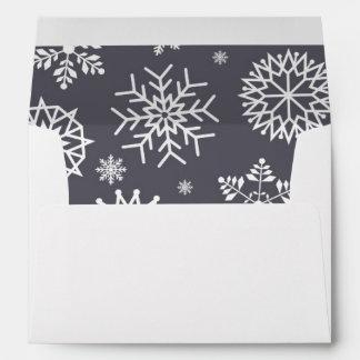 Custom Gray Winter Snowflake Christmas Holidays 2 Envelope