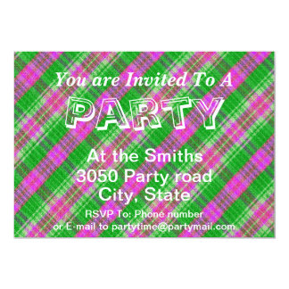 Custom Green and Pink Plaid Design Pattern Card