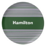Custom Green and Purple Striped Plate