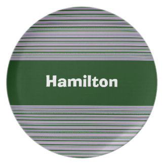 Custom Green and Purple Striped Plate
