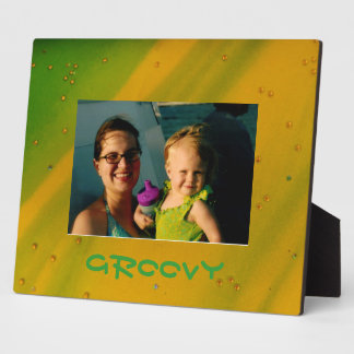 Custom Green and Yellow  Groovy  Frame Plaque