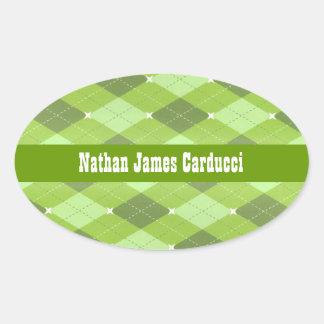 Custom Green Argyle Book Belongs To Envelope Seal Oval Stickers