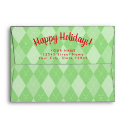Custom green argyle pattern Christmas envelopes