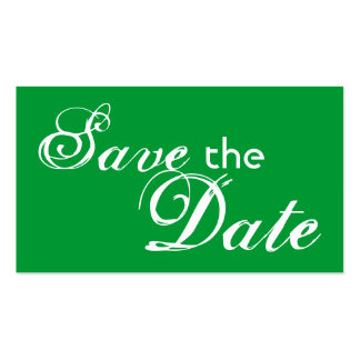 Custom green back save the date wedding cards Double-Sided standard business cards (Pack of 100)