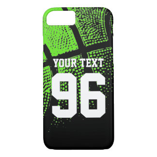 Custom green basketball jersey number iPhone case
