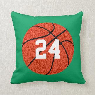 Custom Green Basketball Jersey Number Throw Pillow