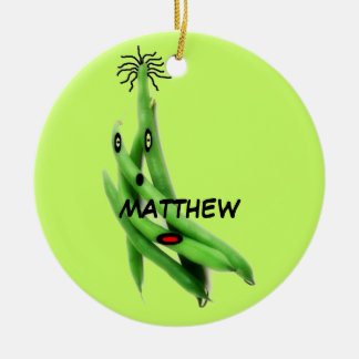 Custom Green Bean Cartoon Christmas Tree Ornament