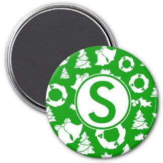 Custom Green Christmas Monogram Magnet