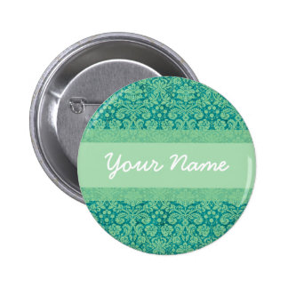 Custom Green Damask Button