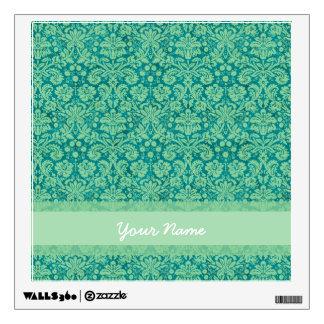 Custom Green Damask Wall Sticker