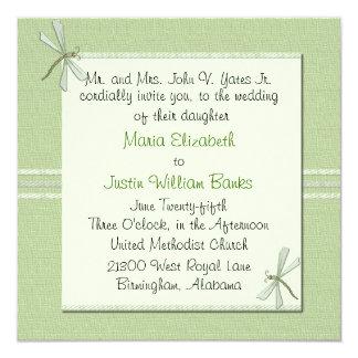 Custom Green Dragonfly Square Wedding Invitation