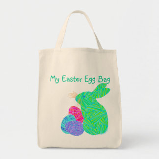 Custom Green Easter Bunny My Easter Egg Bag Tote