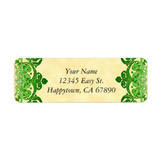 Custom Green Floral Vintage Art Address Labels